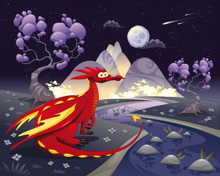 Dragon in landscape in the night. Cartoon and illustration, isolated objects.