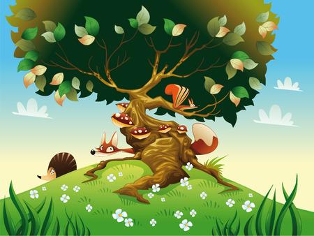 arboles caricatura: Paisaje de dibujos animados con animales. Ilustraci�n, objetos aislados  Vectores