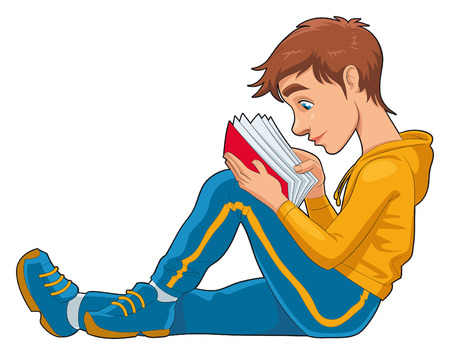 adolescente: Reading student. Funny cartoon and   character, isolated object