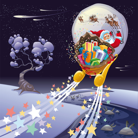Santa Claus in the night. Cartoon and  landscape, isolated objects. Vector