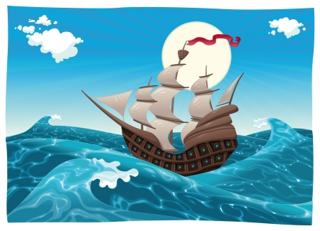 Galleon in the sea. Cartoon and  illustration, isolated objects Vector