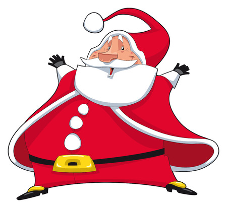 Santa Claus. Funny cartoon and  isolated character Illustration
