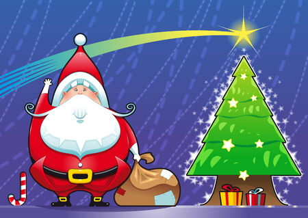 omens: Santa Claus with Christmas tree. Funny cartoon and vector scene. Isolated objects