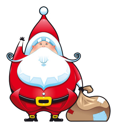 Santa Claus with bag. Funny cartoon and vector isolated character