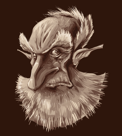 Ancient elf portrait. Vector illustration, isolated object