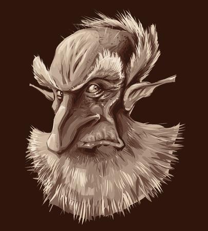 duendes: Retrato de elfo antigua. Ilustraci�n vectorial, objeto aislado
