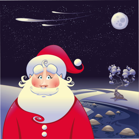 Santa Claus with landscape. Funny cartoon and  illustration. Stock Vector - 8120717