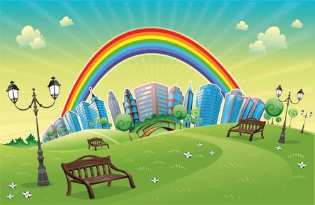 arboles de caricatura: Parque con arco iris. Animaci�n divertida y escena.  Vectores