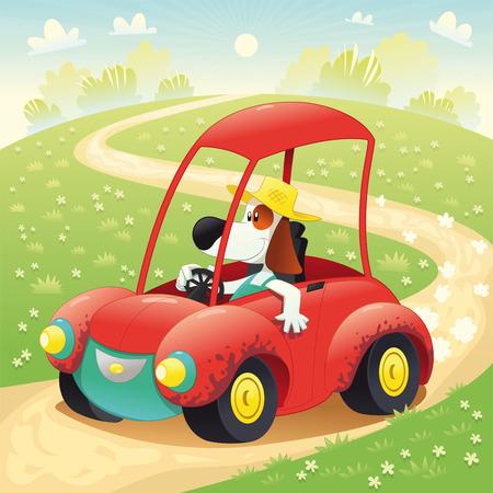 granja caricatura: Perro gracioso en un autom�vil. Dibujos animados e ilustraci�n, objetos aislados