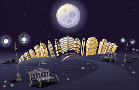 Park with rainbow in the night. Cartoon and  scene. Vector