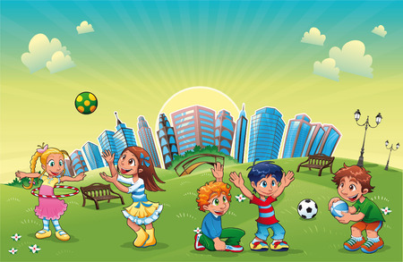 exercise cartoon: Boys and girls are playing in the park. Funny cartoon and  scene.