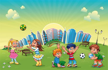 banc de parc: Gar�ons et filles jouent dans le parc. Dr�le de la caricature et la sc�ne.