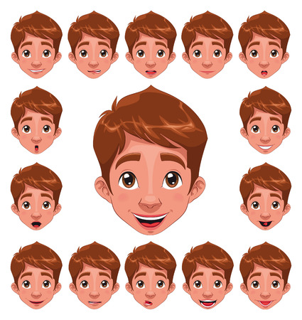 Boy Expressions with lip sync. Funny cartoon and  character. Stock Vector - 8195651