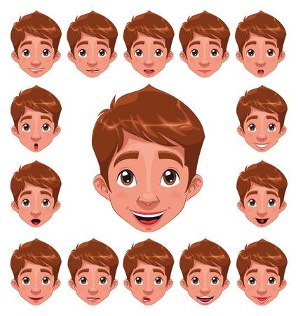gesichtsausdruck: Junge Ausdr�cke mit Lip Sync. Funny Cartoon und Charakter.  Illustration