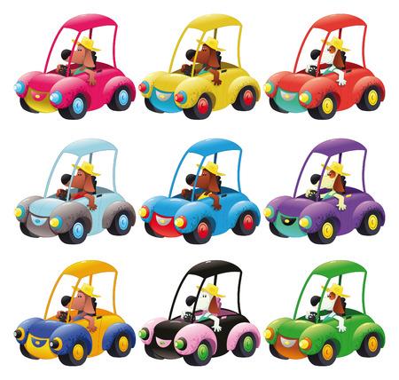carritos de juguete: Grupo de veh�culos guiado por el perro. Dibujos animados divertida y objetos aislados