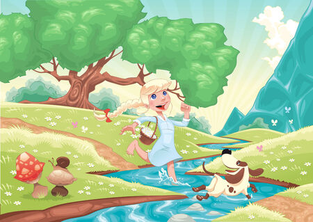 young girls nature: Young girl is running with dog in the nature. Funny cartoon and   scene, isolated objects. Illustration