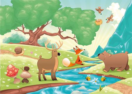 bach: Tiere im Wald. Cartoon und Landschaft, isolierte Objekte.
