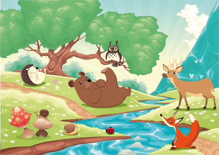 tales: Animals in the wood. Cartoon and  landscape, isolated objects. Illustration
