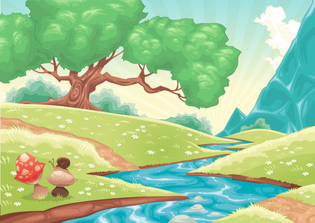 mushroom cloud: Cartoon landscape with stream.  illustration.  Illustration