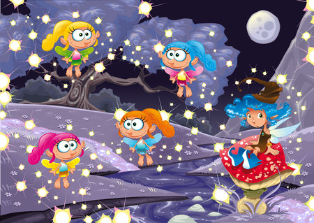 brook: Cartoon landscape with fairies.  illustration, isolated objects