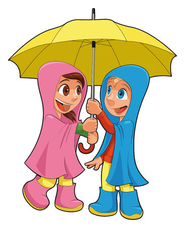 Boy and girl under the umbrella.  Vector