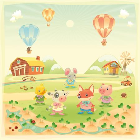 sol caricatura: Animales de granja de beb� en el campo. Caricaturas divertidas e ilustraci�n, objetos aislados.