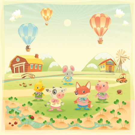 Baby farm animals in the countryside. Funny cartoon and   illustration, isolated objects. Vector