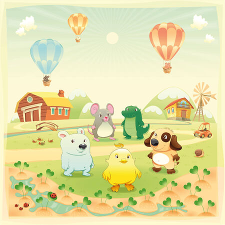 Baby farm animals in the countryside. Funny cartoon and  illustration, isolated objects.