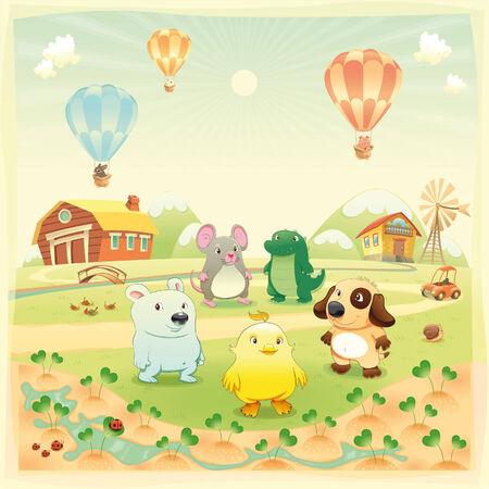 cartoon farm: Baby farm animals in the countryside. Funny cartoon and  illustration, isolated objects.