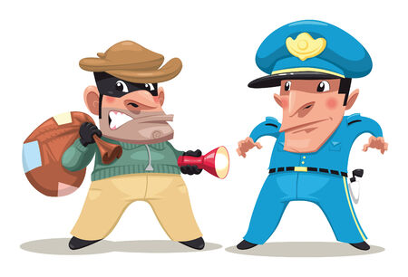 robbery: Thief and guard. Funny cartoon and vector isolated characters.