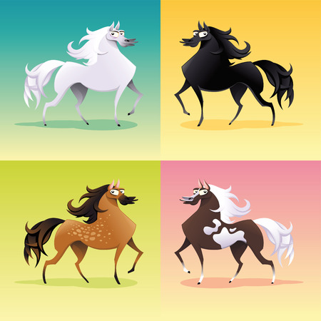 thoroughbred horse: Family of horses. Funny cartoon and vector isolated animal characters.