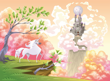 mythological character: Unicorn and mythological landscape. Cartoon and vector illustration, objects isolated .