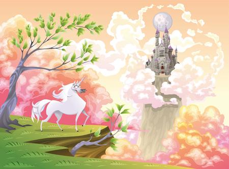 Unicornio y paisaje mitológico. Ilustración de dibujos animados y vector, objetos aislados.