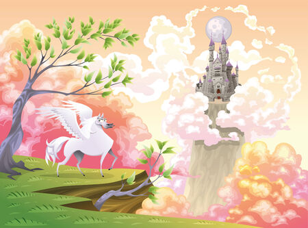 angel white: Pegasus and mythological landscape. Cartoon and vector illustration, objects isolated .