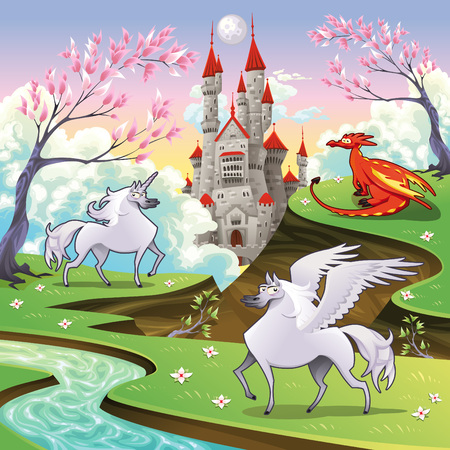dragon cartoon: Pegasus, unicorn and dragon in a mythological landscape. Cartoon and vector illustration, objects isolated .