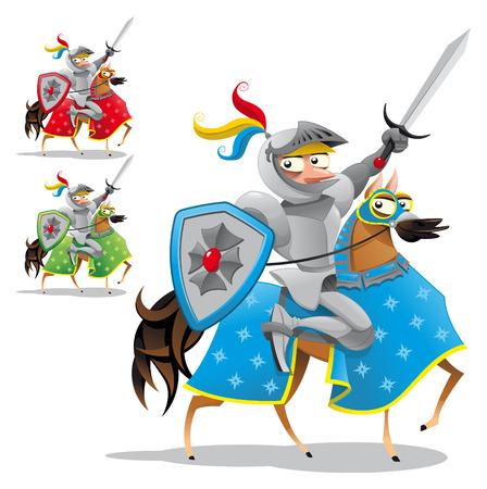 rey medieval: Caballero y caballo. Personajes de dibujos animados y el vector de graciosos, objetos aislados