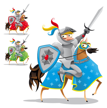 Knight and horse. Funny cartoon and vector characters, objects isolated Illustration