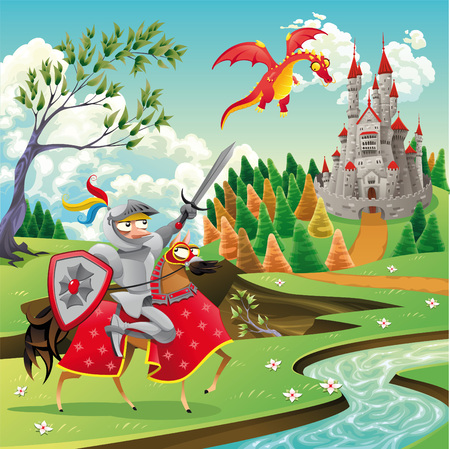Panorama with medieval castle, dragon and knight. Cartoon and vector illustration Vector