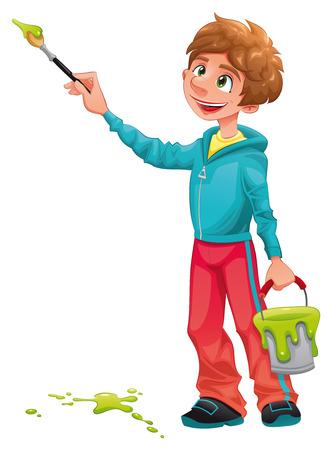 Peintre de garçon.  Personnage et caricature funny