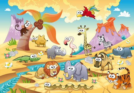 Savannah animal family with background. Funny cartoon and illustration, isolated objects. Vector