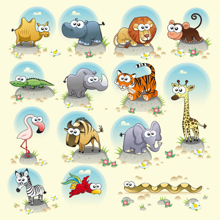 jacar�: Savannah animals. Funny cartoon and  characters. Isolated objects