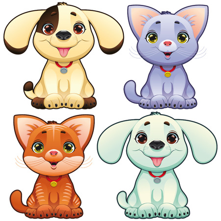 puppies: Cute dogs and cats. Funny cartoon and animal characters, isolated objects.