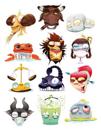 signes du zodiaque: Drôle de Zodiac. Illustration de la caricature et vecteur