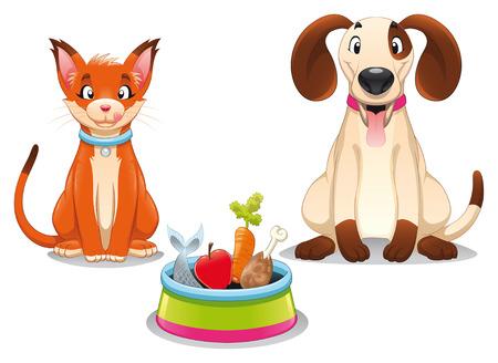 Gatto e cane con il cibo. Divertente cartoni animati e vettoriale scena, oggetti isolati.