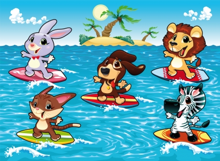cartoon summer: Funny animals are surfing in the sea. Cartoon and vector illustration, isolated objects.