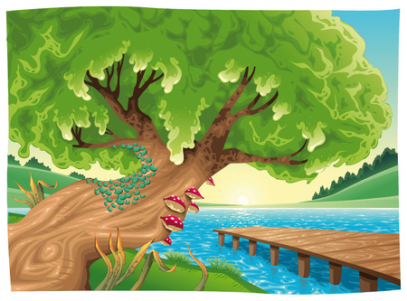cartoon trees: Landscape with water.