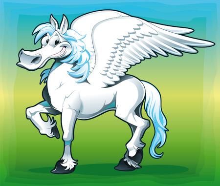 Pegasus. Funny cartoon   Vector
