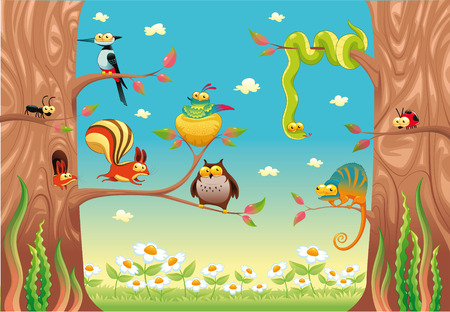 Funny animals on branches. Cartoon   Vector
