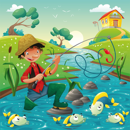 creek:  Fisherman and fish in the river. Funny cartoon