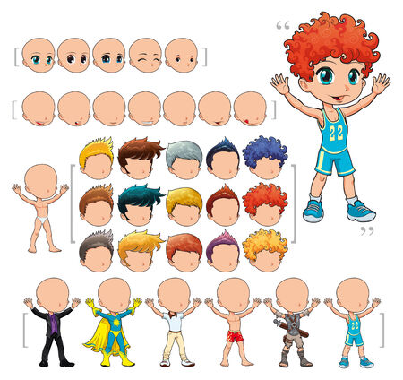 animation: Avatar boy,  illustration, isolated objects.   All the elements adapt perfectly each others. Larger character on the right is just an example. 5 eyes, 7 mouths, 15 hair and 7 clothes. Enjoy!!